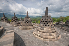 A scenic view of the Borobudur temple - Indonesia Royalty Free Stock Photos