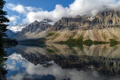 Scenic view of Bow Lake on the Icefields Parkway in Banff Nation Stock Photo