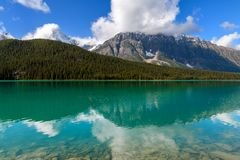 Scenic view of Bow Lake on the Icefields Parkway in Banff Nation Stock Image