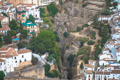 Scenic view of bridge and canyon, Ronda, Malaga, Andalusia, Spain Stock Photo