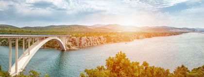 Scenic view of a bridge leading to an old town of Sibenik in Croatia Stock Photos