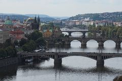 Scenic view of bridges on the Vltava river and historical center of Prague,buildings and landmarks of old town,Prague Stock Photos