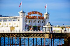 Scenic view of Brighton Palace Pier, one of the most popular tourist attraction in Brighton, United Kingdom stock photography