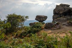 Scenic view of Brimham Rocks royalty free stock photography