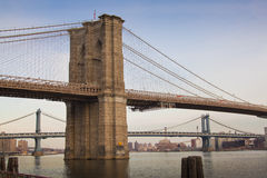 Scenic view of the Brooklyn bridge New york city. View of the Brooklyn bridge from the shores of Manhattan Royalty Free Stock Photos