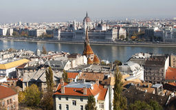 Scenic view of Budapest from the Fisherman's Bastion, Hungary. Scenic view of Budapest from the Fisherman's Bastion, across the Danube, with the beautiful Stock Photo
