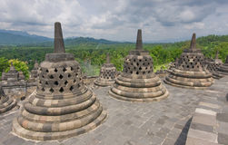 Scenic view of the Buddhist Borobudur temple in Indonesia Royalty Free Stock Photography