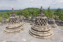 Scenic view of the Buddhist Borobudur temple in Indonesia Stock Image