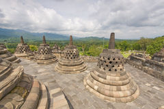 Scenic view of the Buddhist Borobudur temple in Indonesia Stock Images
