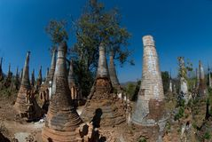 Scenic view of buddhist pagodas , Myanmar 2. Royalty Free Stock Photo