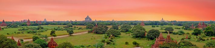 Scenic view of buddhist temples in Bagan , Myanmar. At sunset Royalty Free Stock Photo