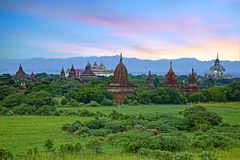 Scenic view of buddhist temples in Bagan , Myanmar. At sunset Royalty Free Stock Image