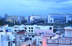 Scenic view of buildings at evening time. A view of buildings in a city shot at evening time Royalty Free Stock Photo
