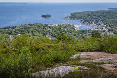 Scenic view of Camden Harbor from Mount Battie. At Camden Hills State Park, Maine Stock Image