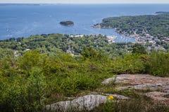 Scenic view of Camden Harbor from Mount Battie Stock Image