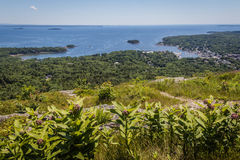 Scenic view of Camden Harbor and trails from Mount Battie. Scenic view of Camden Harbor from Mount Battie at Camden Hills State Park, Maine Stock Photography