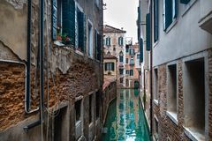 Scenic view on canal in center of Venice, Italy royalty free stock photo