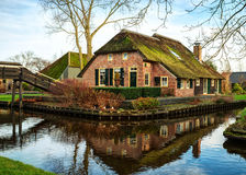 Scenic  view on canal in Giethoorn,   The Netherlands Royalty Free Stock Photography