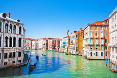 Scenic view of Canal Grande in Venice, Italy as seen from Rialto bridge royalty free stock photography