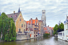 Scenic view of the canal of old part in Bruges. Royalty Free Stock Image