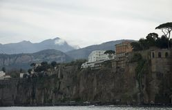 Scenic view of Capri Island, Italy. Capri by a cloudy day. (Part of Campania), Bay of Naples ,southern Italy. Tourist attraction noted for its beautiful scenery royalty free stock photo