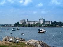 Scenic view of Casco Bay and Fort Gorges building. Scenic view of Casco Bay with sailboats and Fort Gorges building in the background, Portland, Maine Stock Image