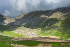 Scenic view of Castelluccio di Norcia Valley, Umbria - Italy Royalty Free Stock Photography