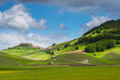 Scenic view of Castelluccio di Norcia Valley, Umbria - Italy Stock Photography