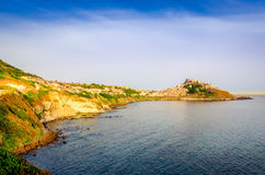 Scenic view of Castelsardo town and ocean coast landscape Stock Image