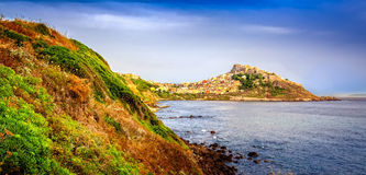 Scenic view of Castelsardo town and ocean landscape Stock Photo