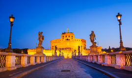 Scenic view of Castle San Angelo before sunrise, Rome Royalty Free Stock Photography