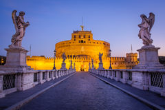 Scenic view of Castle San Angelo before sunrise, Rome Royalty Free Stock Images