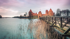 Scenic view of castle in Trakai, Lithuania. Stock Photos