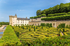 A scenic view of the castle of Villandry, France Royalty Free Stock Photos