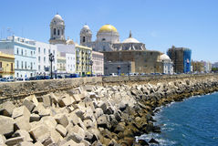 Scenic view of the Cathedral of Cadiz and old town. Stock Images