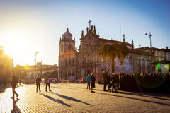 Scenic view of cathedral and square in Porto. Portugal Royalty Free Stock Photo