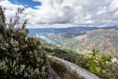 Scenic view of Cavado river and Peneda Geres National Park in northern Portugal.  stock photos