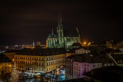 Scenic view on chrismas Brno center, Zelny trh and cathedral of Saint Peter royalty free stock photography