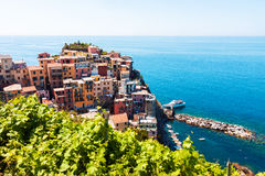 Scenic view of Cinque Terre in Italy. Scenic view of colorful traditional houses in Manarola, Cinque Terre, Italy Stock Photography