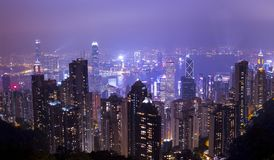 Scenic View of City During Nighttime Royalty Free Stock Images