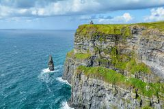 Scenic view of Cliffs of Moher, one of the most popular tourist attractions in Ireland, County Clare. Stock Photos