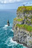 Scenic view of Cliffs of Moher, one of the most popular tourist attractions in Ireland, County Clare. Royalty Free Stock Images