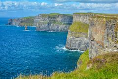 Scenic view of Cliffs of Moher, one of the most popular tourist attractions in Ireland, County Clare. Royalty Free Stock Image