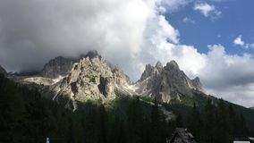 Scenic view on the cloudy mountains near Lago di Braies stock video