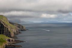 Scenic view of coast of Mykines Royalty Free Stock Photo