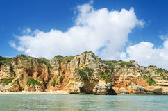 Scenic view of a coastline landscape in Lagos, Algarve, Portugal Stock Photography