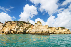 Scenic view of a coastline landscape in Lagos, Algarve, Portugal Stock Photo