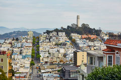 Scenic view at Coit tower in San Francisco, USA. Scenic view at Coit tower in San Francisco, California, USA Royalty Free Stock Photos