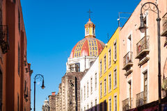 Scenic view of colorful houses and church roof in Mexico city Stock Image