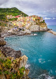 Scenic view of colorful village Manarola in Cinque Terre Royalty Free Stock Photo